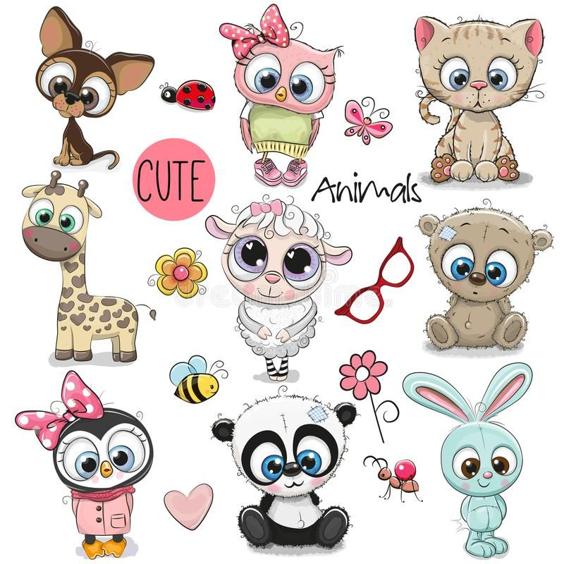 Set Of Cute Cartoon Animals Set Of Cute Animals On A White Background Royalty Free Illustration Cute Animal Illustration Cute Cartoon Cute Drawings
