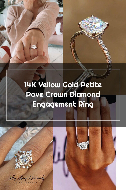 14K Yellow Gold Petite Pavé Crown Diamond Engagement Ring