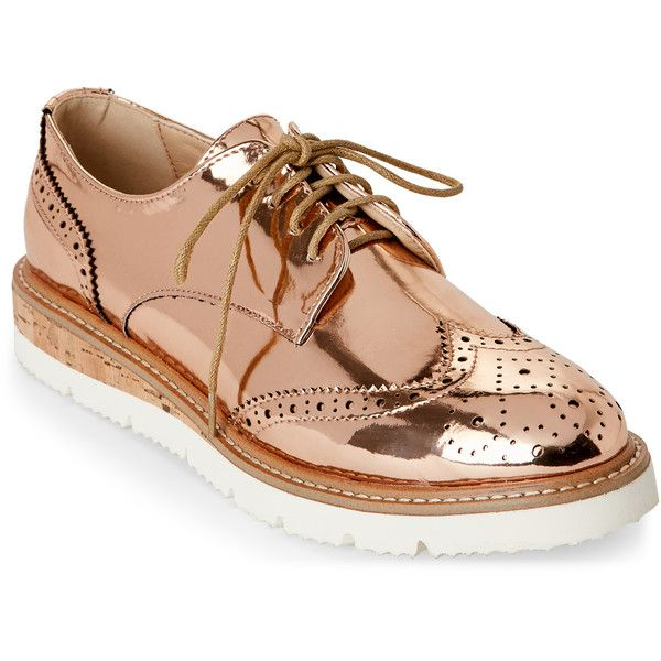 a073f3fbffd3 Wanted Rose Gold Downey Platform Wingtip Oxfords ( 35) ❤ liked on Polyvore  featuring shoes