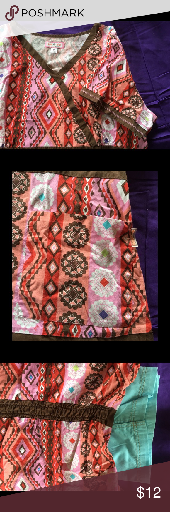 Beautiful Koi Scrub top in EUCLots of color‼️ Beautiful Koi Scrub top in EUCFaux wrap with side tie. Koi Tops