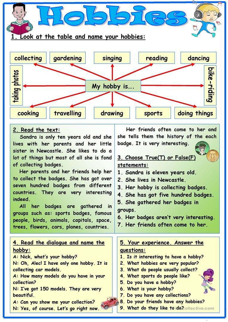 Hobbies Worksheet Free Esl Printable Worksheets Made By Teachers Learn English Teaching English Grammar Reading Comprehension Lessons [ 1079 x 763 Pixel ]