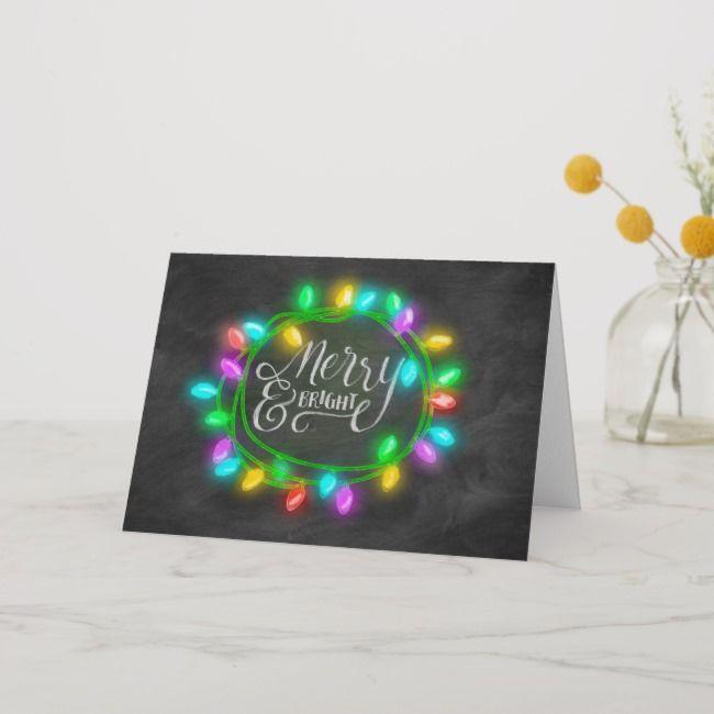 Chalk Board Drawn Multi Merry and Bright Holiday #holiday #christmas #elegantholiday #prettyholiday #pretty