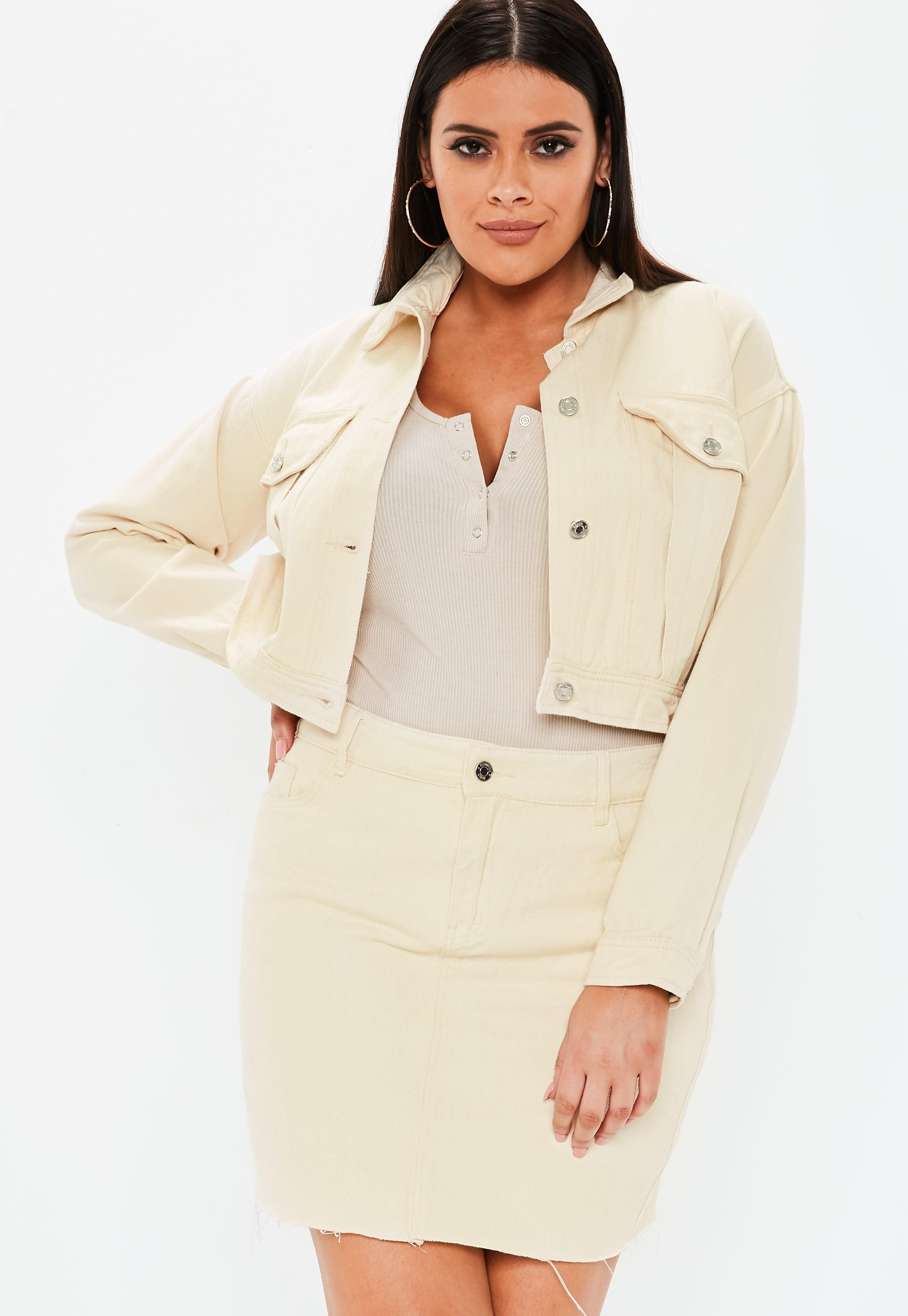 92835f16b361 Plus Size Cream Co Ord Contrast Stitch Cropped Jacket #Sponsored #Ord,  #Affiliate, #Cream, #Size