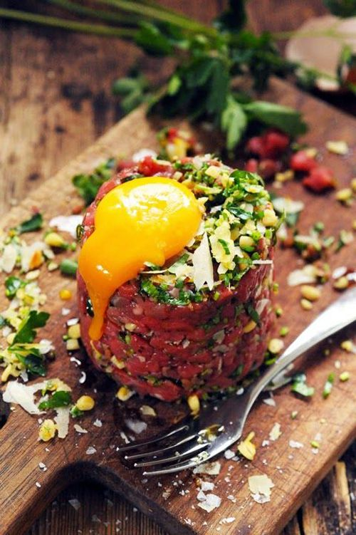 Steak tartare is a meat dish made from finely chopped or minced raw ...