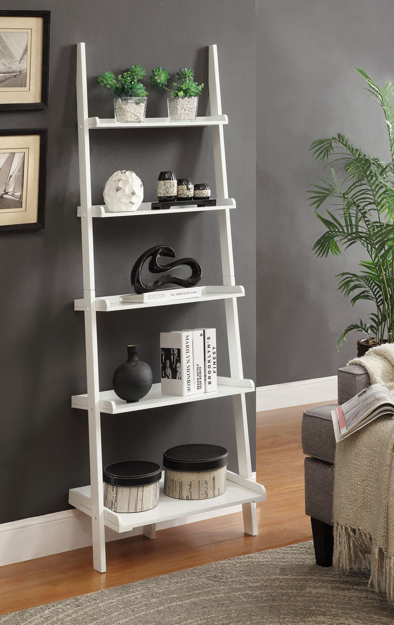 Convenience Concepts French Country 72 Ladder Bookcase - Allmodern