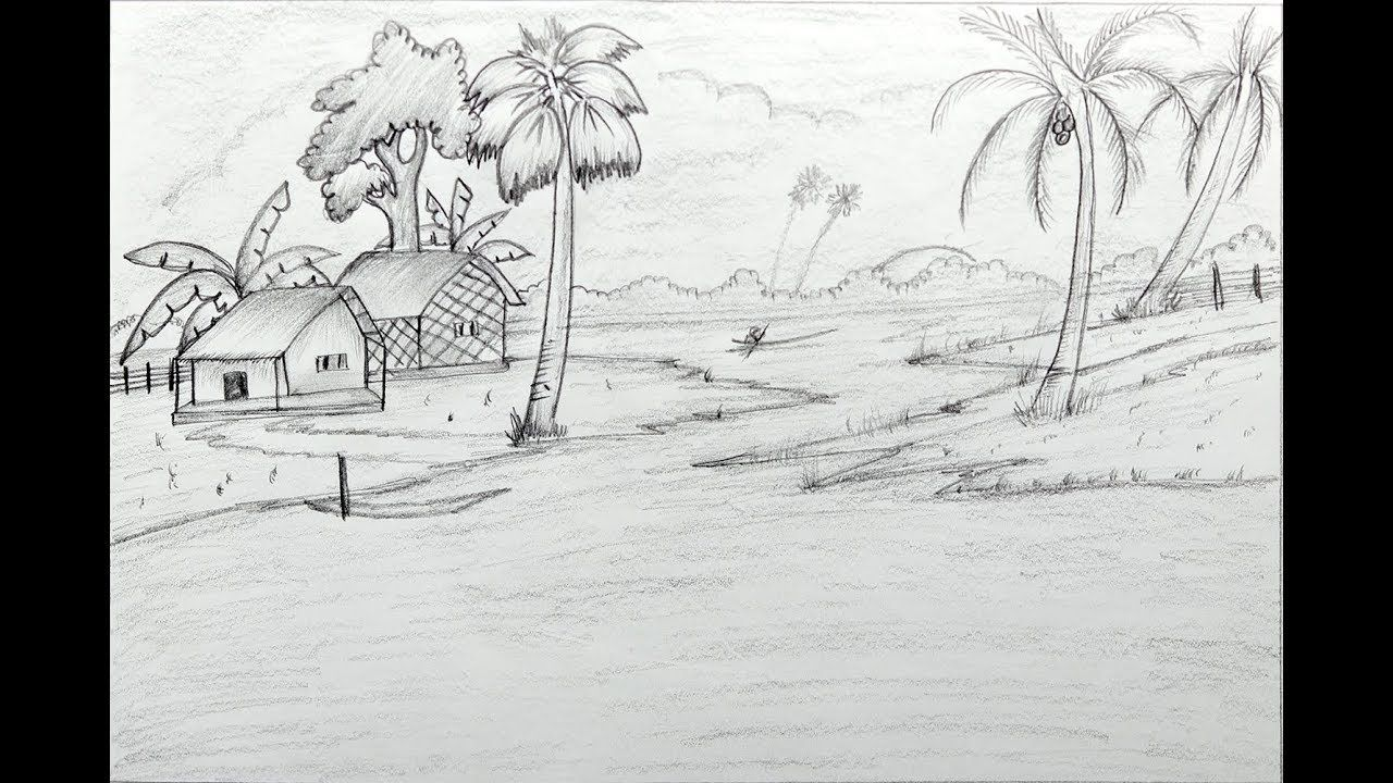 How to draw a village scenery with pencil step by step