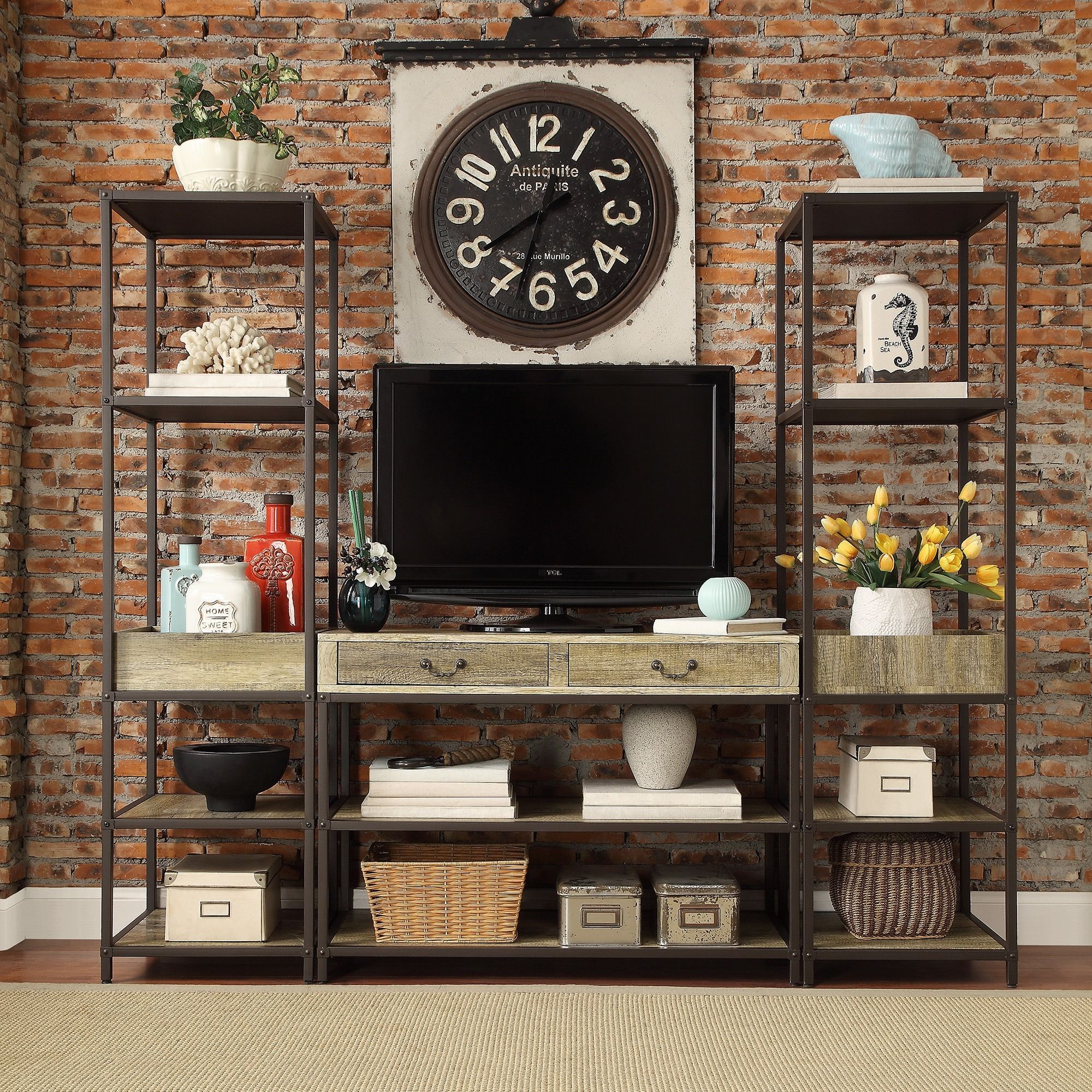 Update the look of your living room with the Sadie Industrial Rustic Open  Shelf Media Console. This console features a stylish rustic design with two  media ...