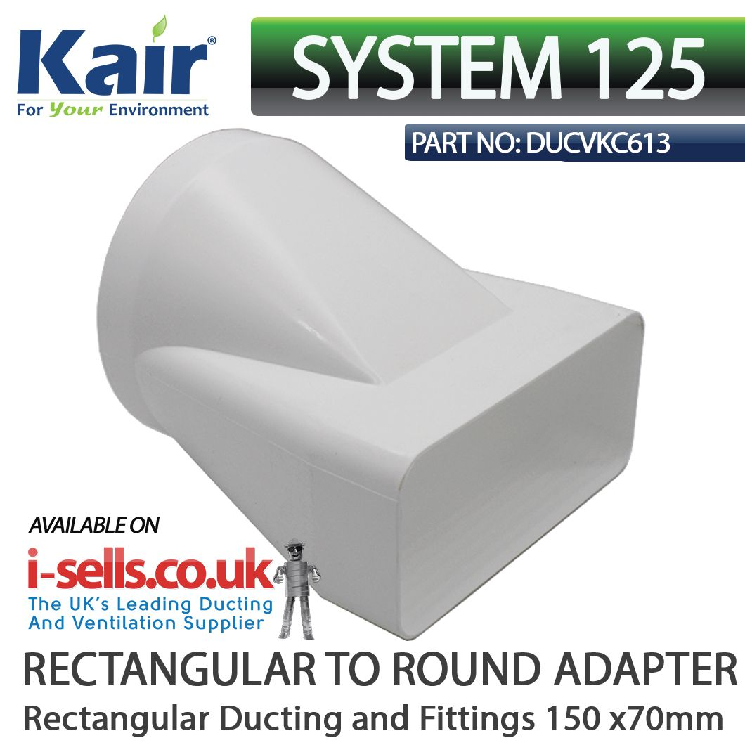 Offset Ducting Adaptor 150x70mm To 125mm Plastic Duct Flexible Duct Rectangular Wall Outlets