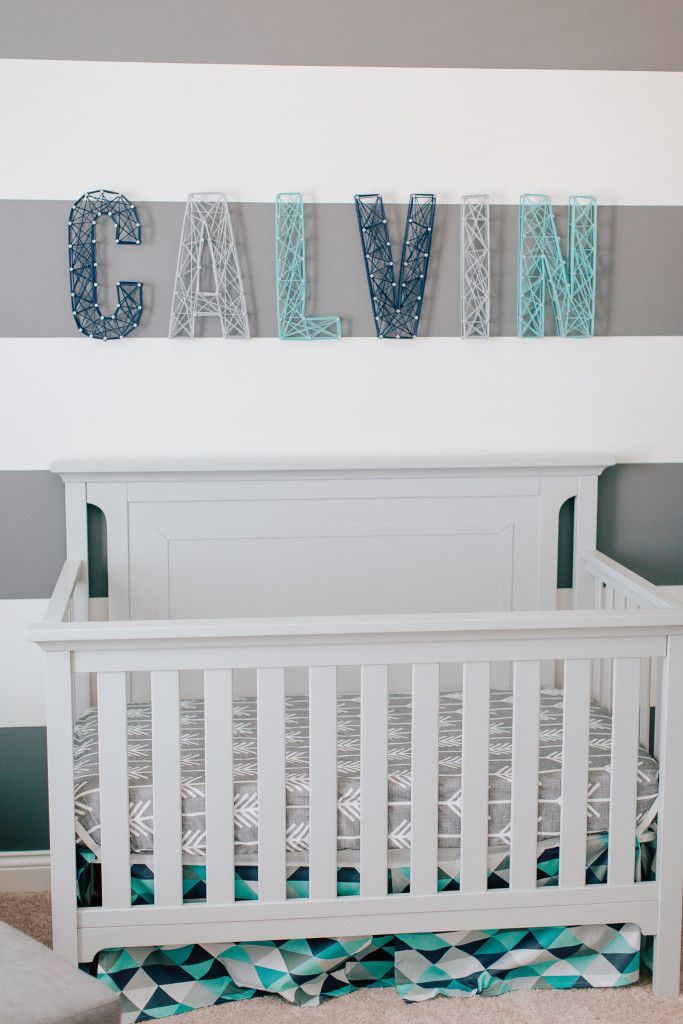 Calvins Modern Blue And Gray Nursery Chambres Bb
