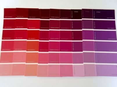 color interior design, red with purples and violets