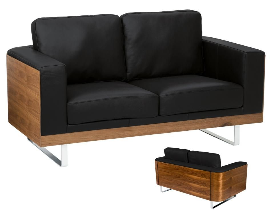 dwell - Firenze leather two seater sofa black | Furniture ...
