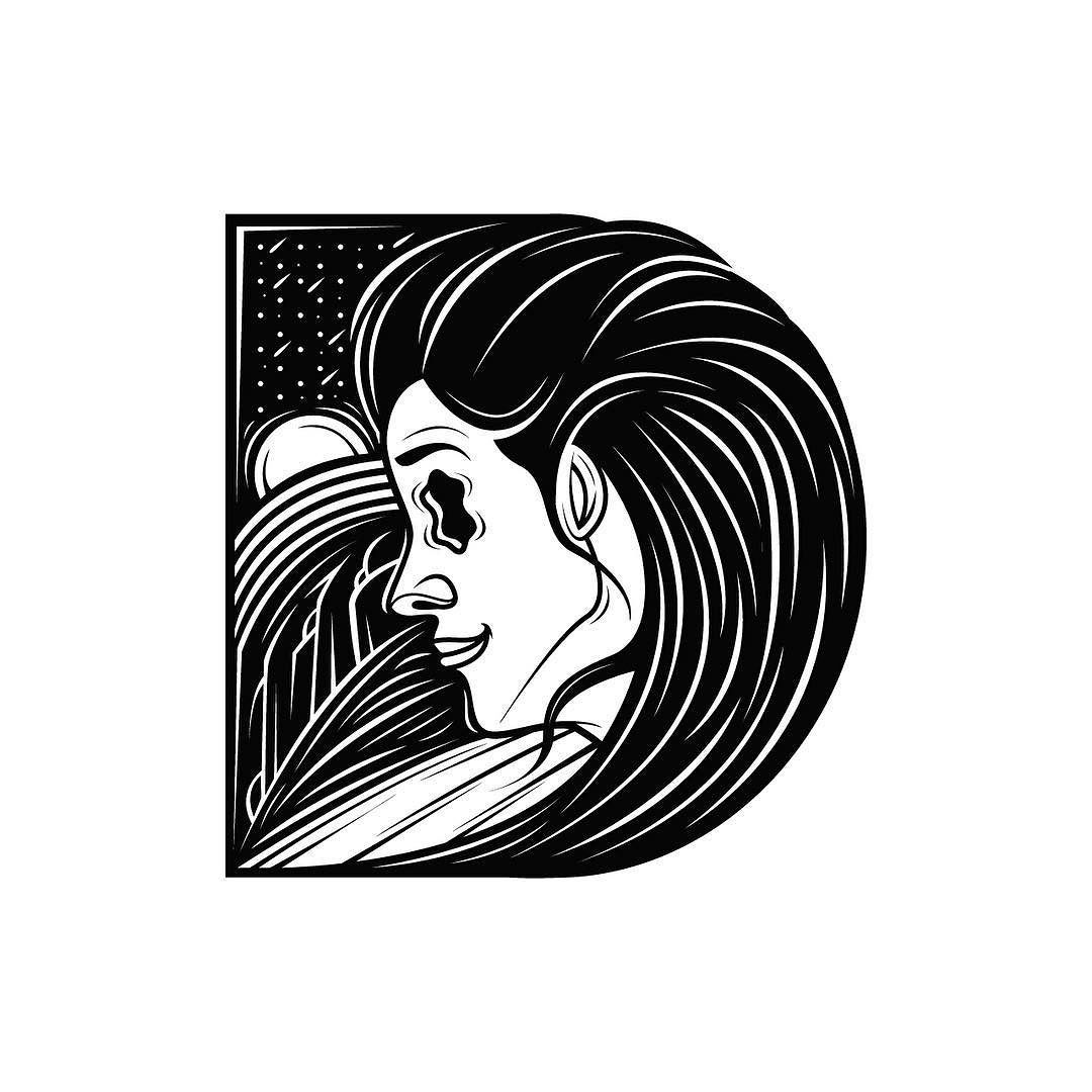 New inspiration #letter for #36daysoftype #d for DONNA BY NIGHT #36daysoftype2016 with her crazy wavy hair. She takes the shape of the letter d. #davidoku Everyday a new b&w type. #36daysoftype #letter_d #36days_d #day04 #01april2016 by @d.okuart by d.okuart