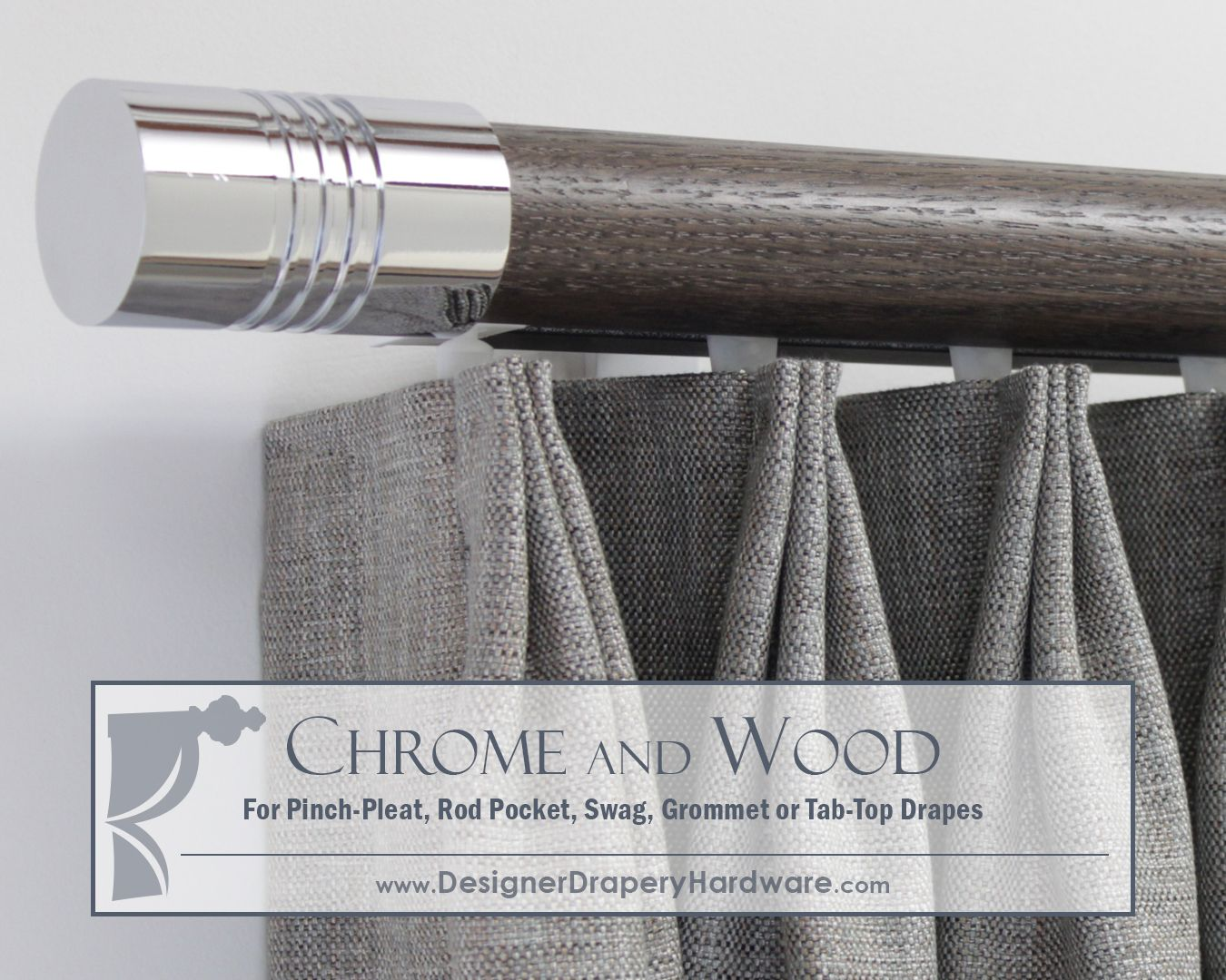 Perfect For Grommet Or Tab Top Drapes Wood And Chrome Fusion