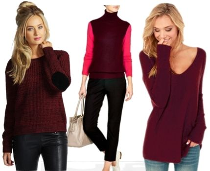 how to wear wine colored sweaters | Runway Trends | Pinterest