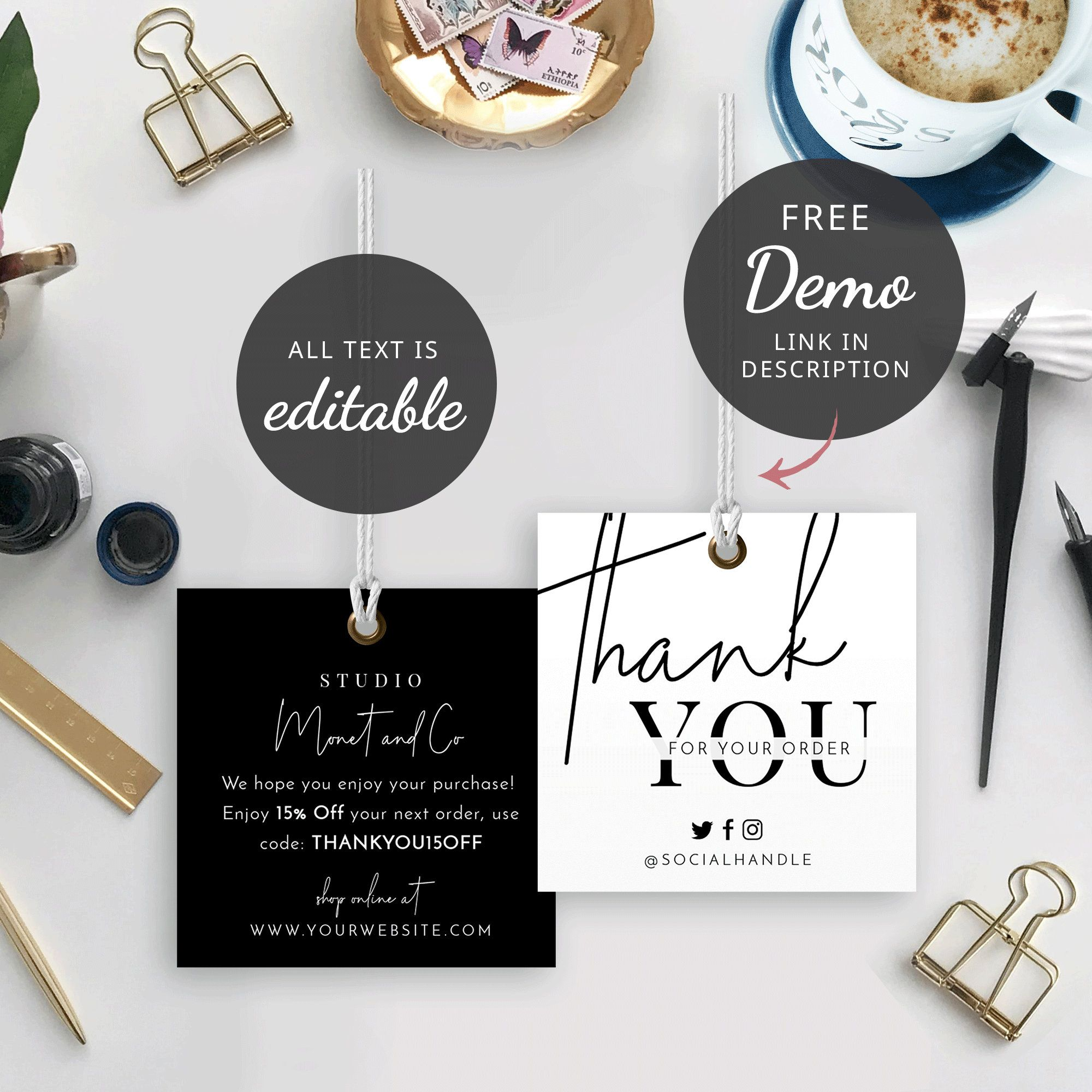 Minimalist Hang Tag Template Thank You Hang Tag Printable Etsy In 2021 Photography Invoice Template Business Thank You Cards Hang Tag Design