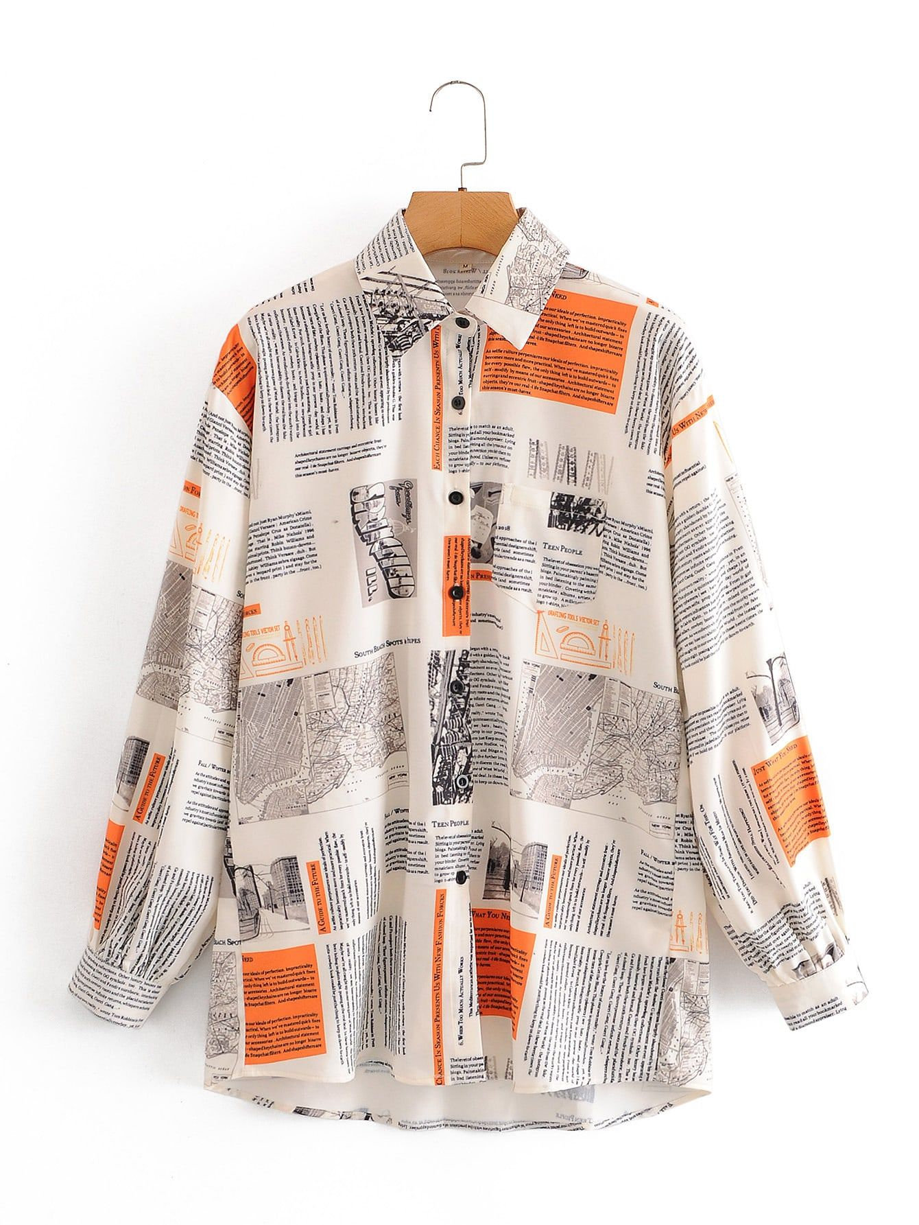 Black Friday 2020 Newspaper Print Button Up Blouse Shein Usa In 2020 Print Buttons Newspaper Printing Blouse
