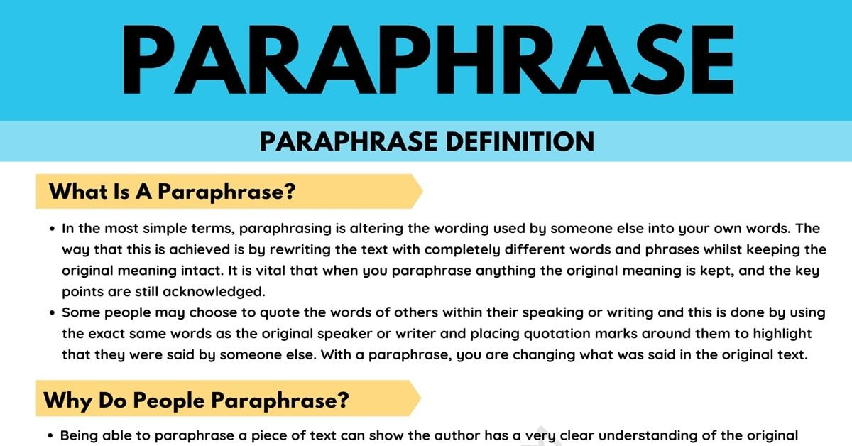 Paraphrase Definition And Useful Example Of Paraphrasing In English 7esl Different Word Words Sentence Define