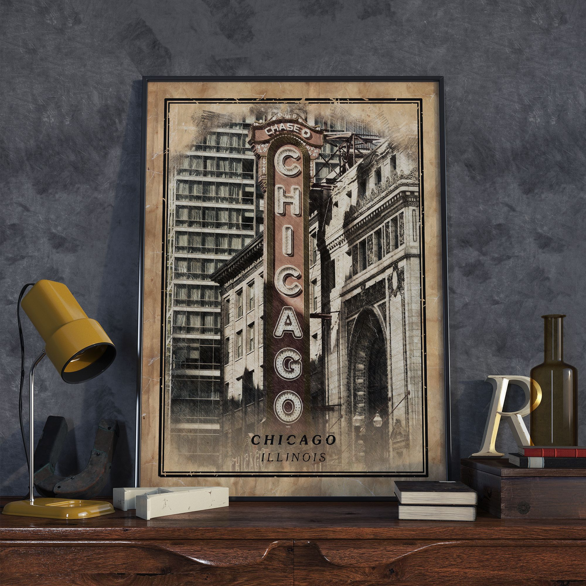 Chicago print travel poster chicago wall art in 2020
