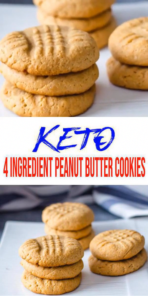 Keto Cookies! AMAZING ketogenic diet cookies - Easy 4 ingredient peanut butter low carb cookies. BEST keto dessert, keto snack or keto breakfast idea. Try these simple & quick homemade keto cookies 4 ingredient peanut butter. Gluten free, sugar free, healthy keto cookie recipe. Great sweet & savory treat for a low carb diet. Great on the go snack idea or make ahead after meal idea. Check out the BEST keto recipe
