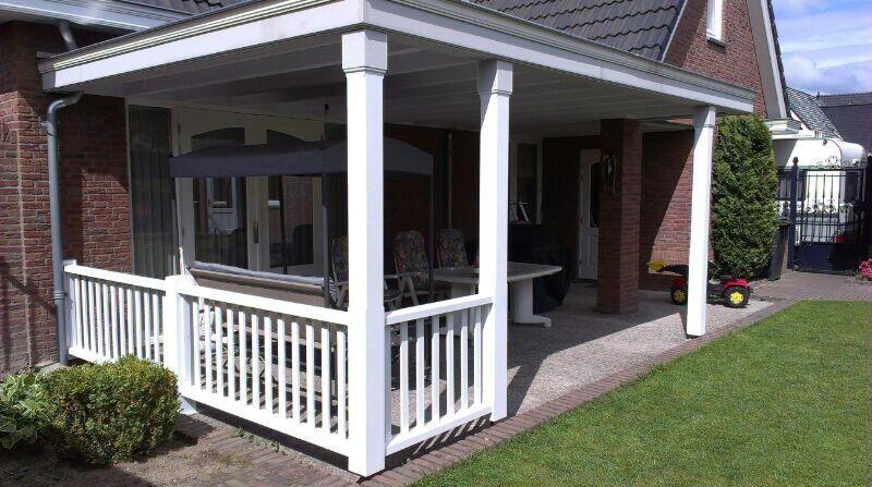 Overkapping terras hout met balustrade overkappingen pinterest porch - Terras hout ...