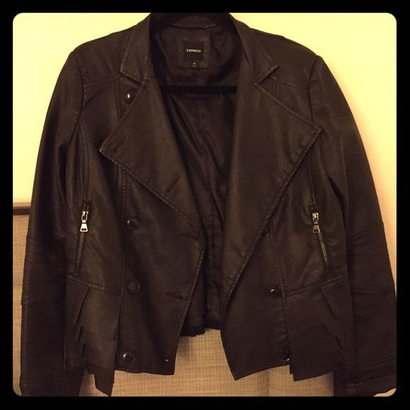 Express jacket Super cute faux leather jacket with ruffles on the back. Only worn once. It's a dark grayish black color. Express Jackets & Coats