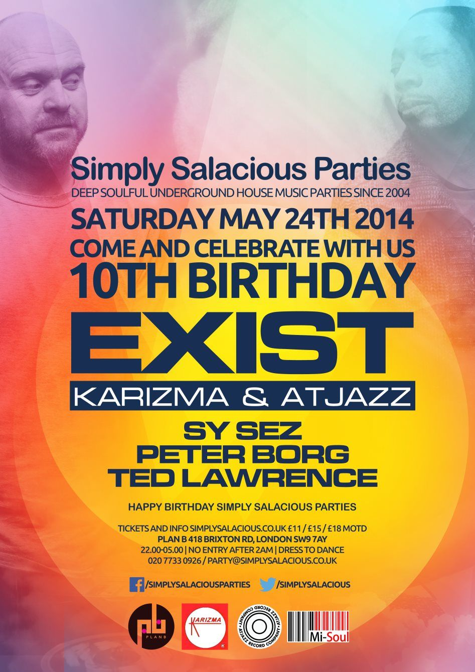 simply salacious parties 10th birthday with exist at plan b simply