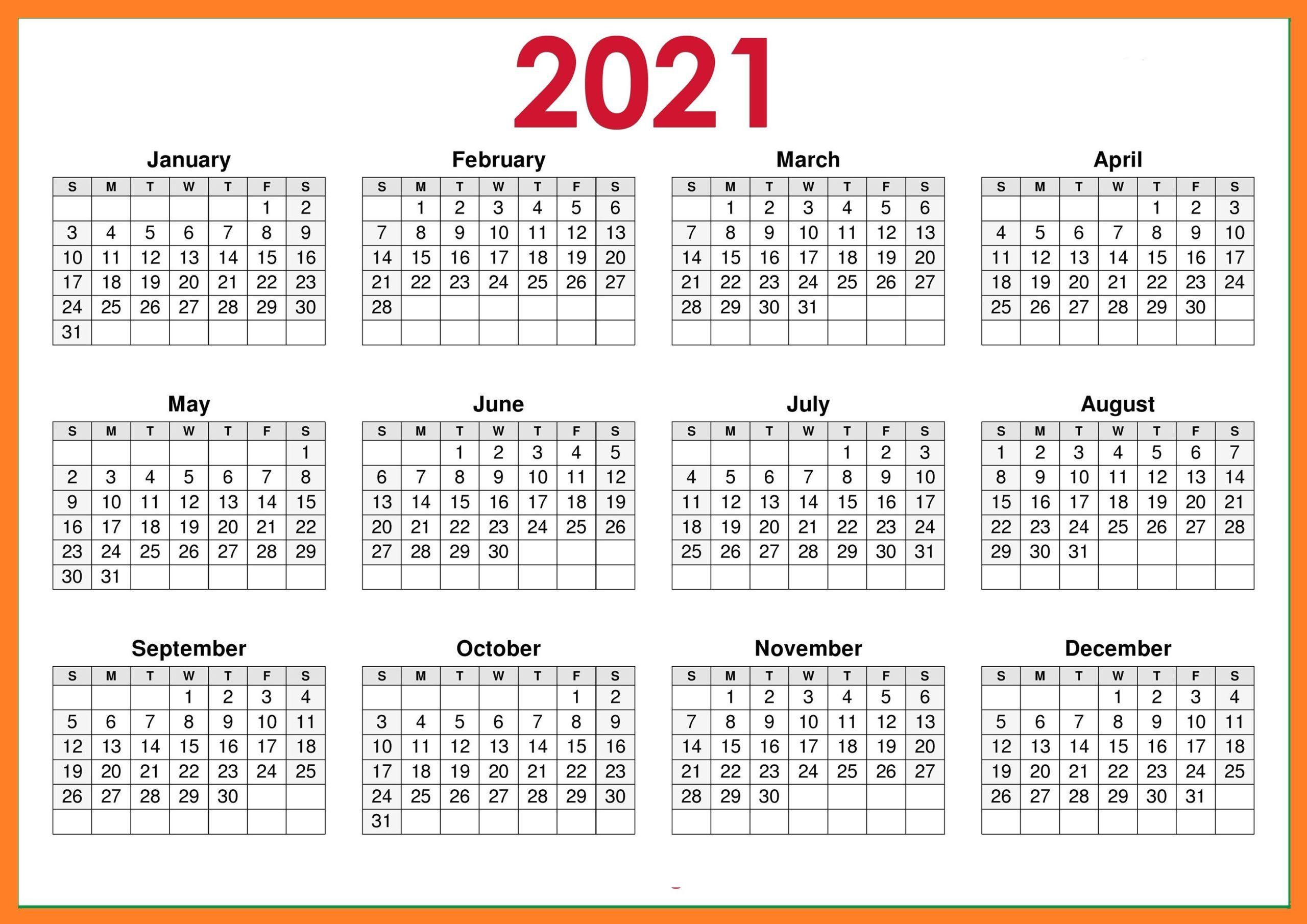 2021 Blank Landscape Calendar | Printable calendar design ...
