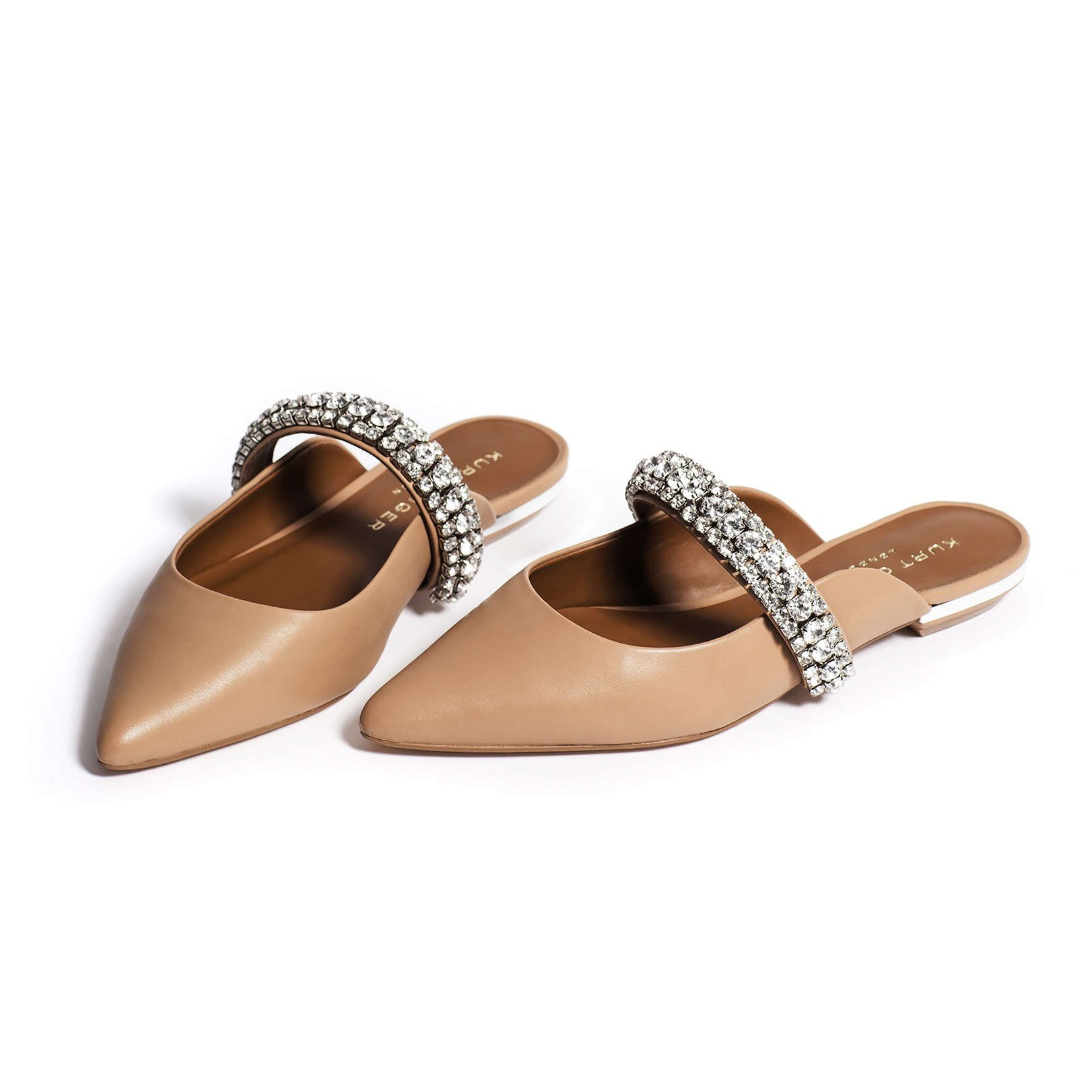 55232e6c2 PRINCELY Leather Mules, White Leather, Kurt Geiger, London, Flats, Sandals,