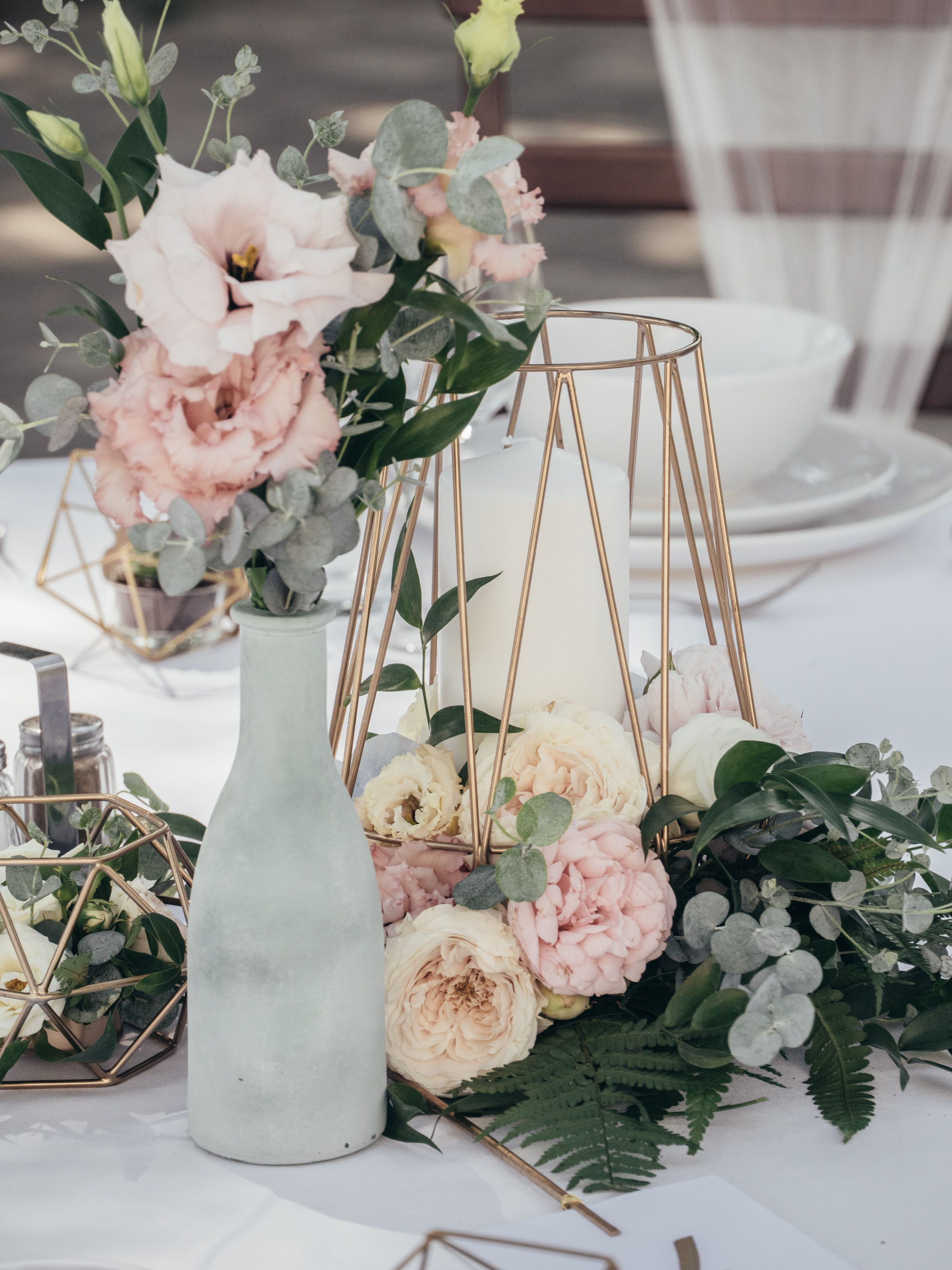 Copper Geometric Terrarium Hire For Wedding Decor And Centrepieces From The Artisan Wedding House In Copper Wedding Decor Artisan Wedding Wedding Centerpieces