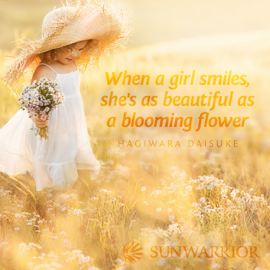 when a girl smiles she s as beautiful as a blooming ‪ ‎flower