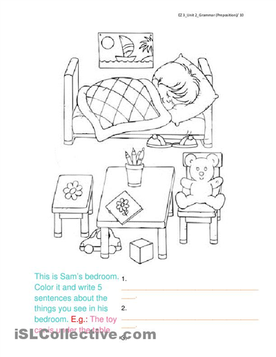 Coloring Page For Goldilocks Vocab Describe The Bedroom Using Prepositions