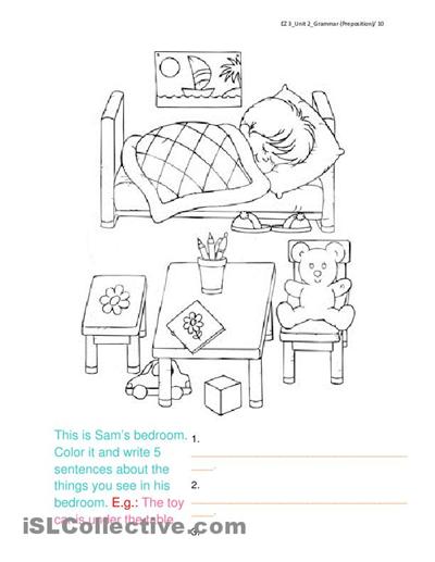Describe The Bedroom Using Prepositions Classroom Ideas Esl