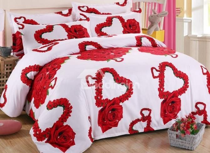 Beautiful Heart Shaped Red Rose Print 4 Piece Polyester Duvet Cover Sets Bedding Bedroom King Size Bed Linen Bedding Sets 3d Bedding Sets