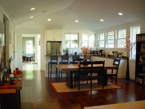 Contemporary Kitchen Design With Vaulted Ceiling Recessed