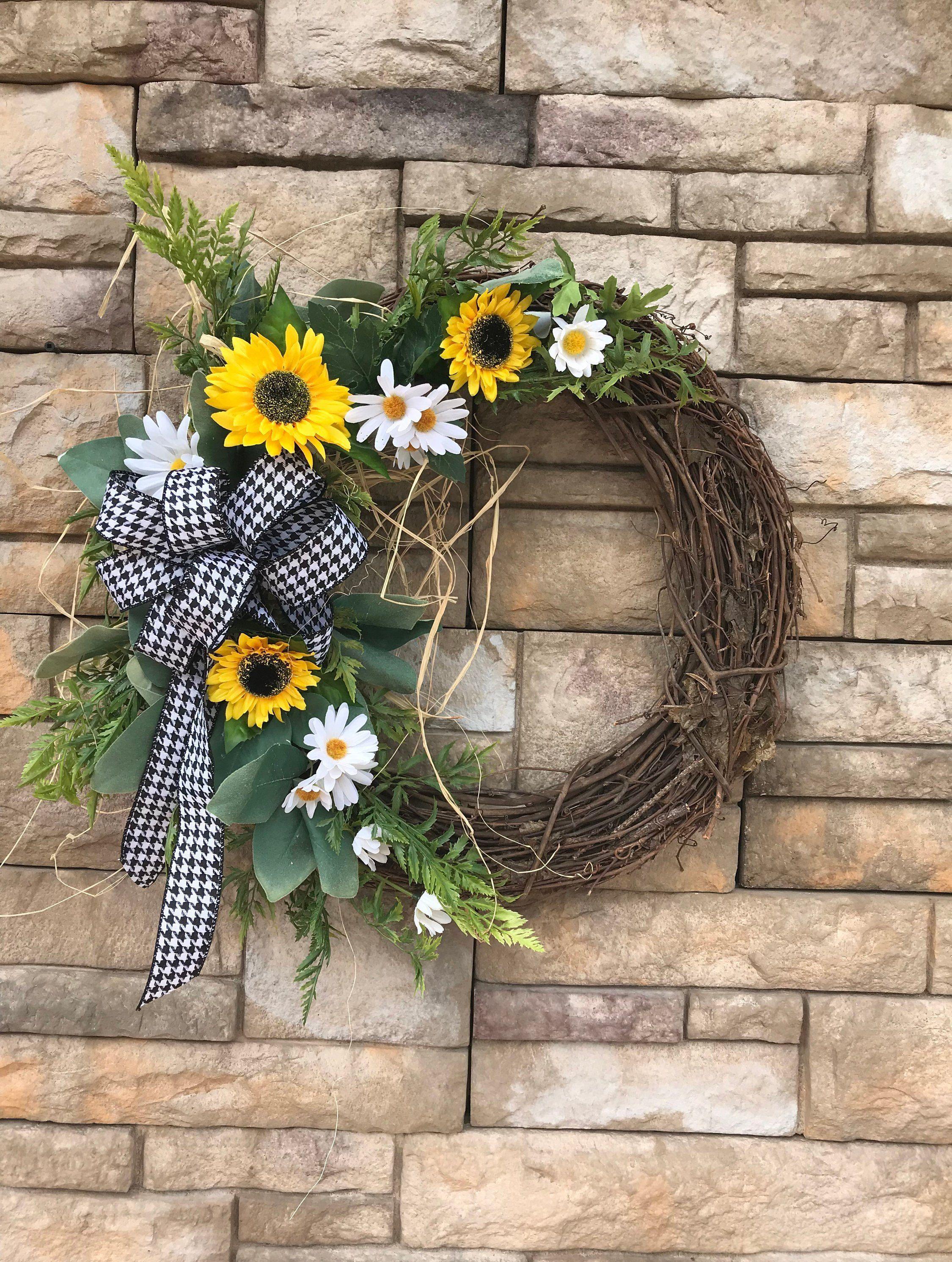 Photo of Daisies & Sunflower Farmhouse Wreath-Sunflower Silk Wreath-Daisy Front Door Wreath-Farmhouse Decor-Black and White Check Farmhouse Wreath