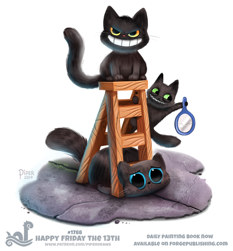 Daily Paint 1788# Happy Friday The 13th by Cryptid-Creations on DeviantArt