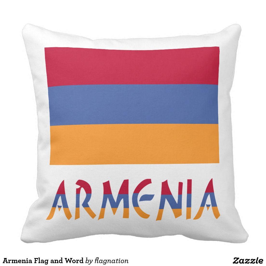 Armenian Flag and Armenia Throw Pillow auntieshoe created this