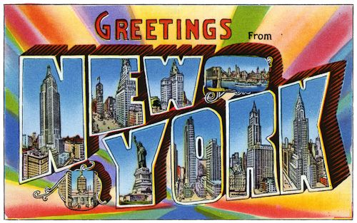 Greetings from new york rainbow vintage postcards pinterest postcards from the 1930s and 1940s greetings from new york m4hsunfo