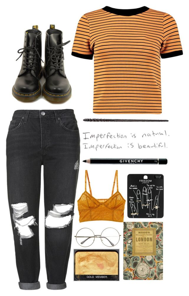 """""""Aesthetic Hufflepuff outfit"""" by blackcherrypie1 ❤ liked on Polyvore featuring Topshop, Boohoo, Dr. Martens, NARS Cosmetics, Intimately Free People and Givenchy"""