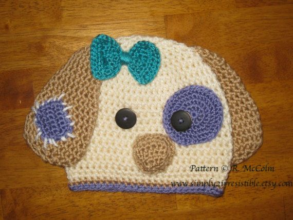 Image Of Patchy Puppy Dog Beanie And Earflap Hat Crochet Pattern