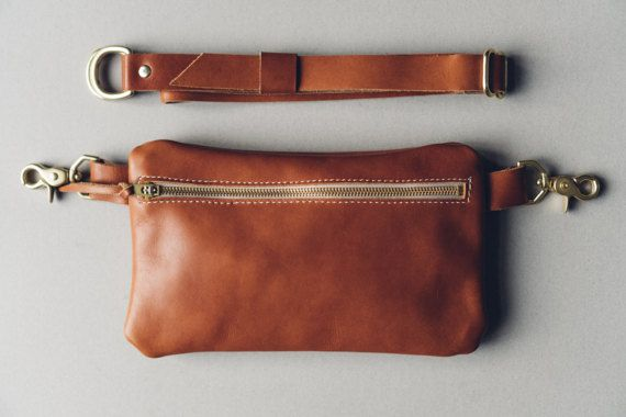 bea854a764b leather zipper fanny pack - cognac    Horween essex leather + solid brass  hardware   can be worn as hip bag, shoulder and cross-body bag