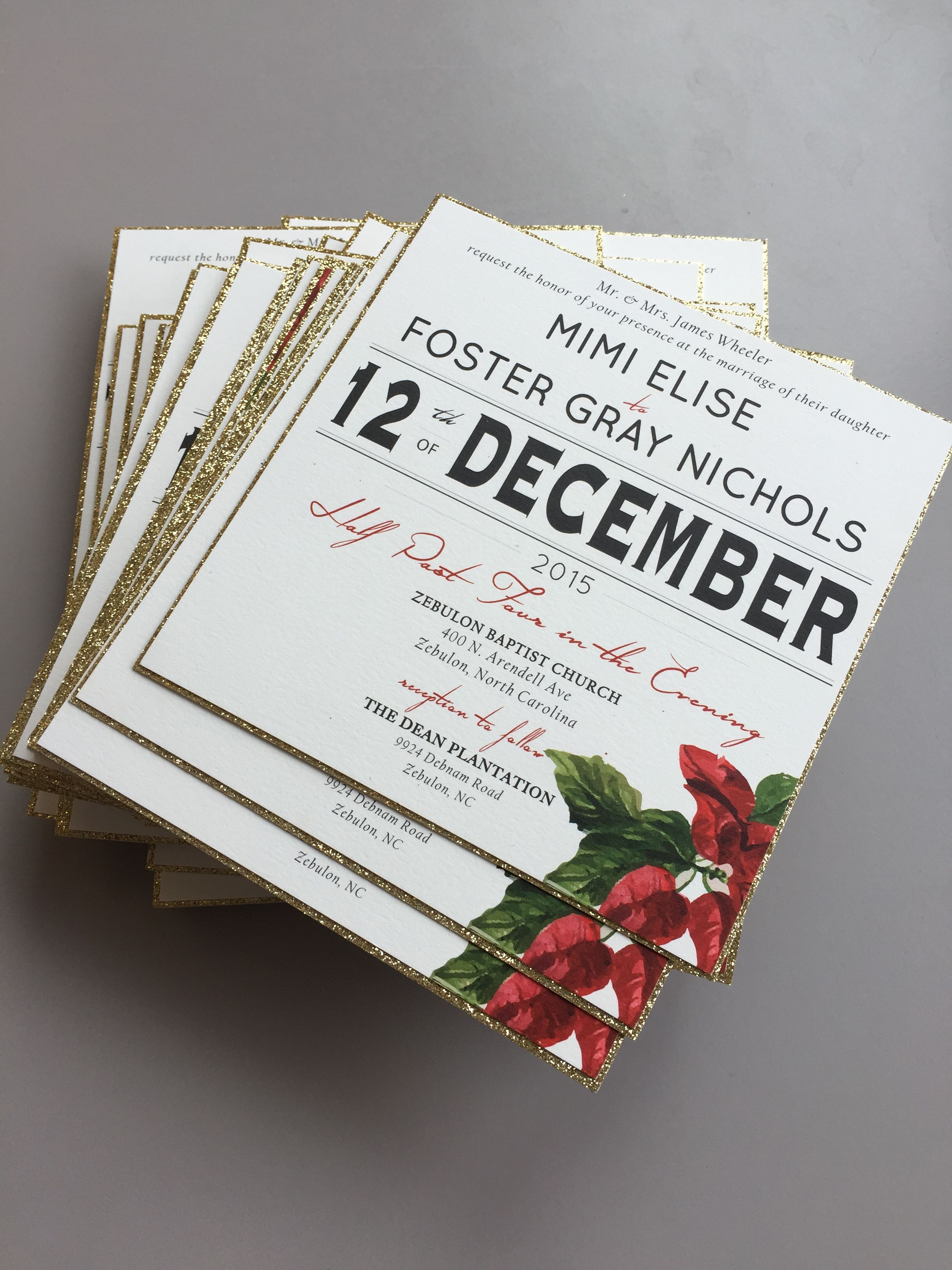 Gold, Christmas Themed Wedding Invitations Designed by J\'Marie ...