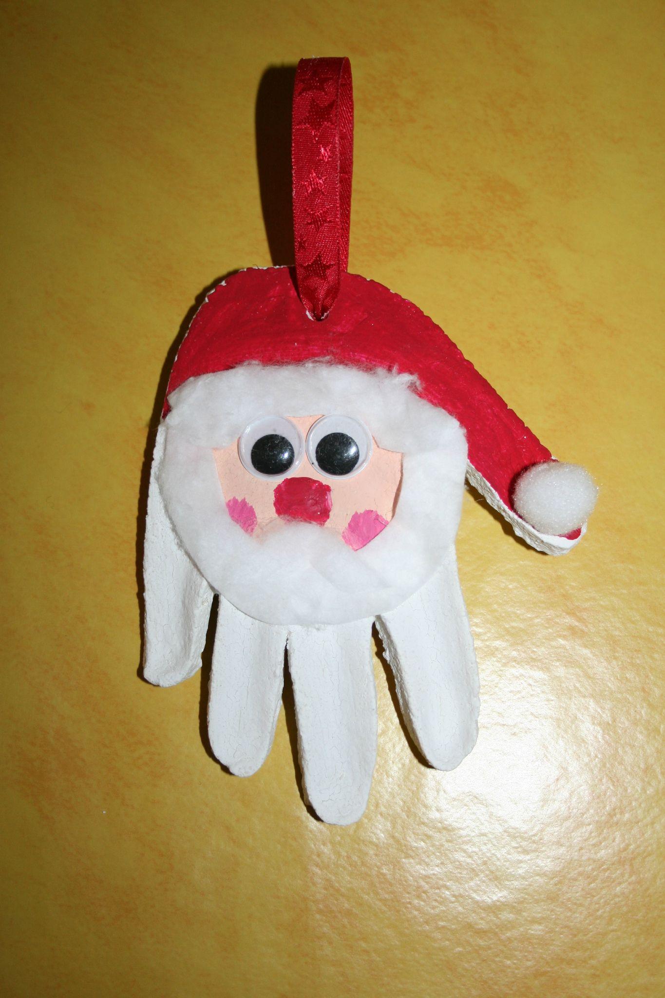 Père Noël Empreinte De Main En Pâte à Sel Les Lutins Créatifs