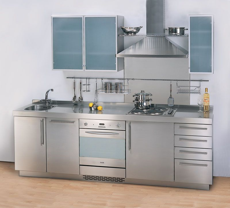 Edelstahl Küche Schränke - Mit Holzmöbeln eingerichtet Kosmetik - küchen aus edelstahl