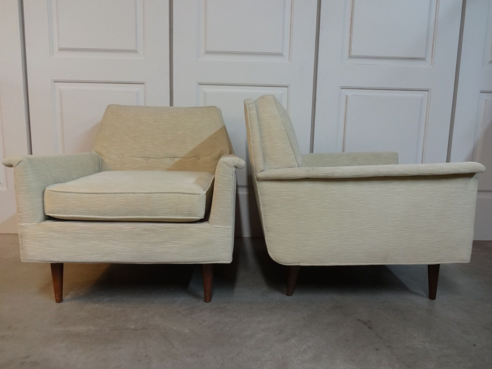 Mid century danish modern selig monroe lounge club chairs