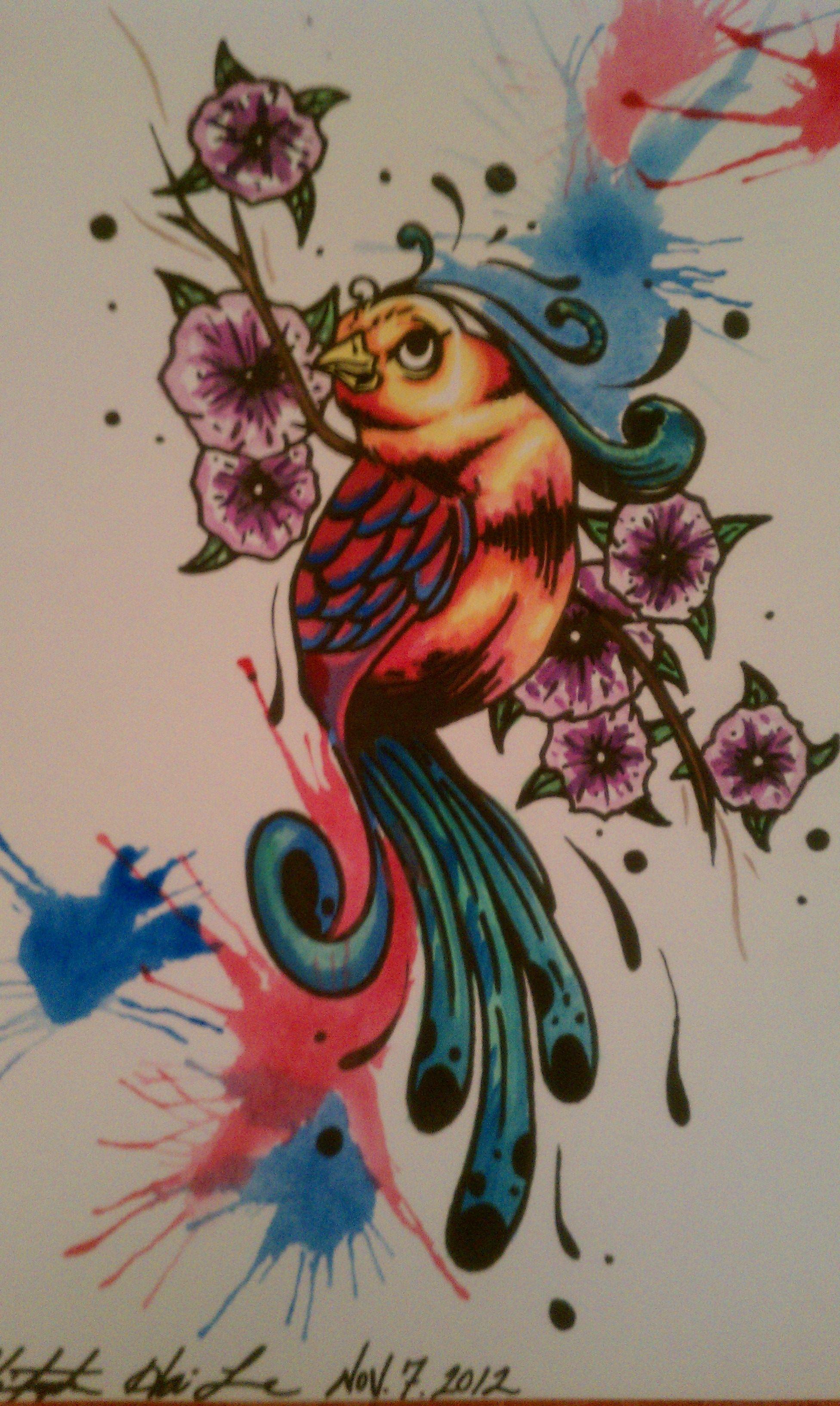 new school bird tattoo flash bird flash art by sketch1208