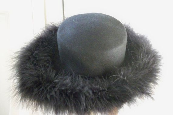 Vintage Accessory Women's Black Wool Hat Feather Rim NOS Bollman Hat Co. Made in USA