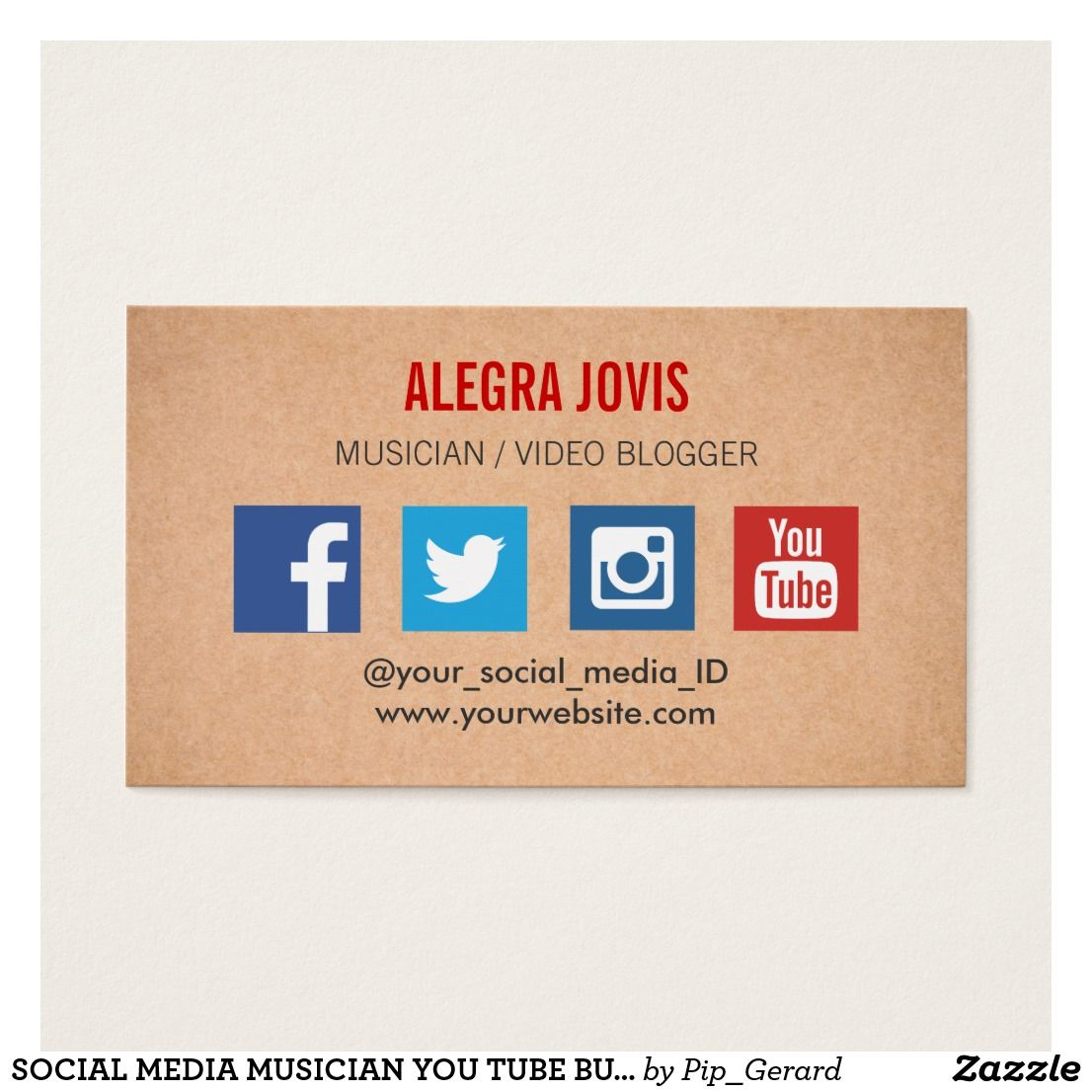 Social Media Musician You Tube Business Card Business Cards - Social media business card template