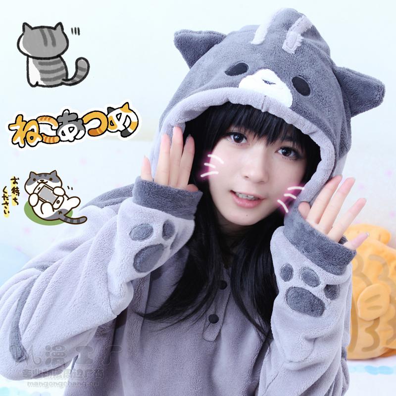 Japanese kawaii cats hooded fleece coat