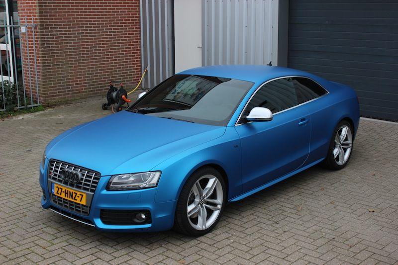 Audi S5 matte blue wrap. View more matte car wraps ideas